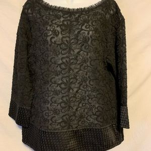 Sundance Large Black sheer mixed media shirt 870a